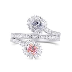 Oval Shape 2 Stones Halo Diamond Ring 2061444