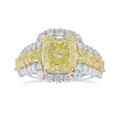 Fancy Yellow Radiant Diamond Side Stones Ring 2067450