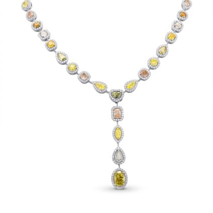 Extraordinary Multicolored Diamond Halo Drop Necklace 2114994