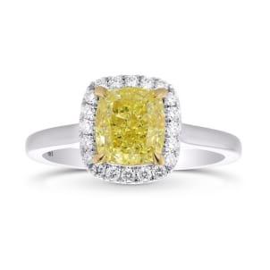 Fancy Yellow Cushion Diamond Halo Ring 2132484