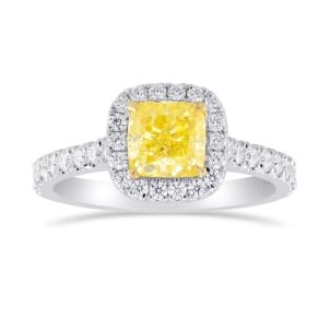 Fancy Intense Yellow Cushion Diamond Halo Ring 2132532