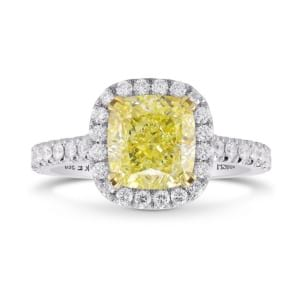 Fancy Yellow Cushion Diamond Halo Ring 2132634