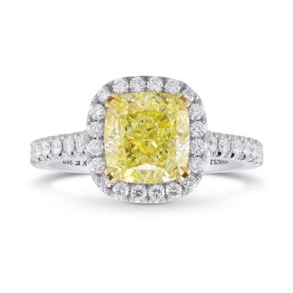 Fancy Yellow Cushion Diamond Halo Ring 2132634