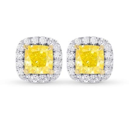 Fancy Intense Yellow Cushion Halo Earrings 2133168