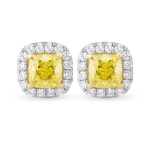 Fancy Yellow Cushion Diamond Halo Earrings 2133180