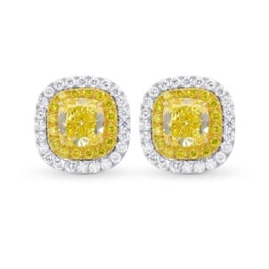 Fancy Intense Yellow Cushion Double Halo Earrings 2140440