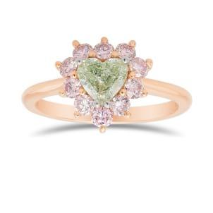 Fancy Green Heart Halo Diamond Ring 2142714