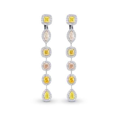 Extraordinary Multi-Color Diamond Drop Halo Earrings 2171970