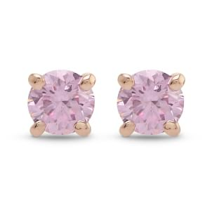 Argyle Fancy Intense Pink Round Brilliant Stud Earrings 2195358