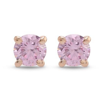 Argyle Fancy Intense Pink Round Brilliant Stud Earrings 2195358