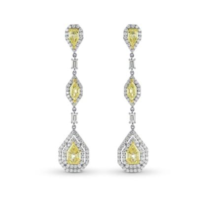 Fancy Light Yellow Marquise, Pear and Kite Diamond Drop Earrings 220896