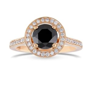 Rose Gold Natural Black Diamond Engagement Ring 2231664