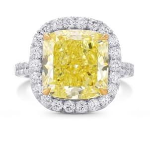 Fancy Intense Yellow Cushion Diamond Halo Ring 2277396