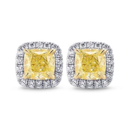 Серьги, бриллиант Цвет: Желтый, Вес: 2.82 карат