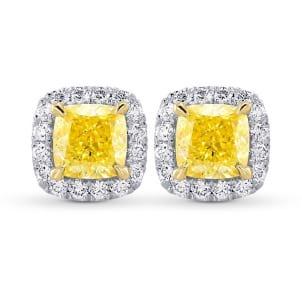 Серьги, бриллиант Цвет: Желтый, Вес: 1.42 карат