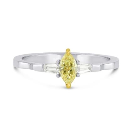 Fancy Intense Yellow Marquise and Taper Diamond Accent Ring 241662