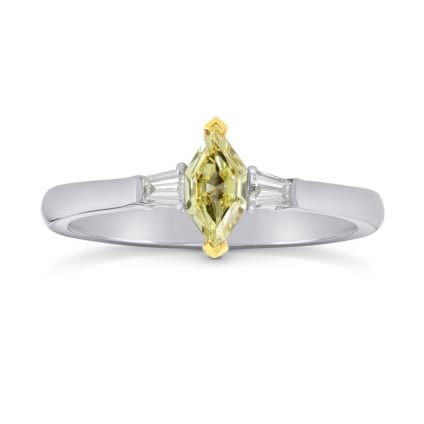 Fancy Yellow Marquise and Taper Diamond Ring set in 18K gold 241686