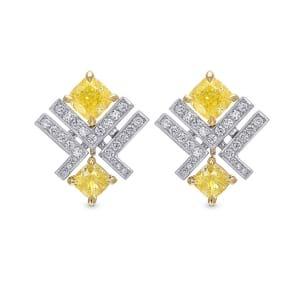 Серьги, бриллиант Цвет: Желтый, Вес: 1.91 карат