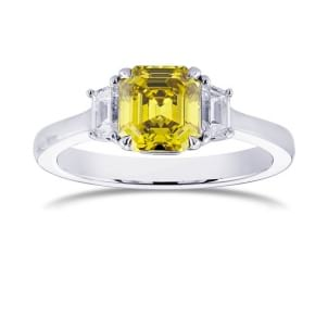 Fancy Deep Greenish Yellow Emerald and Trapezoid Engagement ring 272928