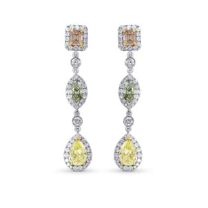 Pink, Green and Yellow Diamond drop earrings. 299862