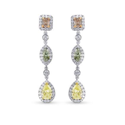 Pink, Green and Yellow Diamond drop earrings. 299862