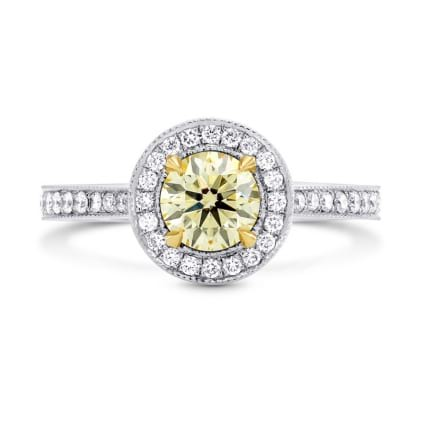 Fancy Yellow Round Diamond Halo Engagement Ring 323172