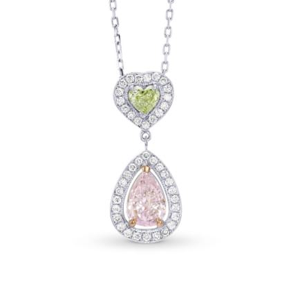 Very Light Pink Pear and Fancy Yellowish Green Heart Diamond Halo Drop Pendant 338244