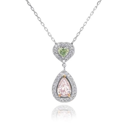 Very Light Pink Pear and Fancy Yellowish Green Heart Diamond Pendant set in 18K White and Rose Gold 338244