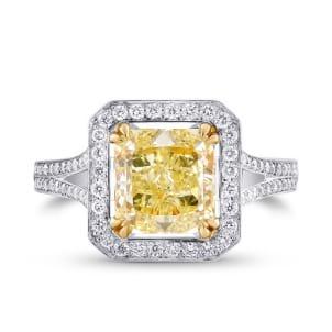 2.44ct Y-Z Radiant Cut Halo Diamond Ring set in 18K gold & Pave diamonds. 338892