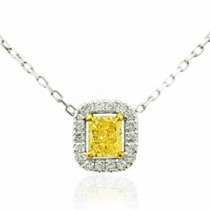 Fancy Yellow Cushion & White Pave Diamond Pendant 355440