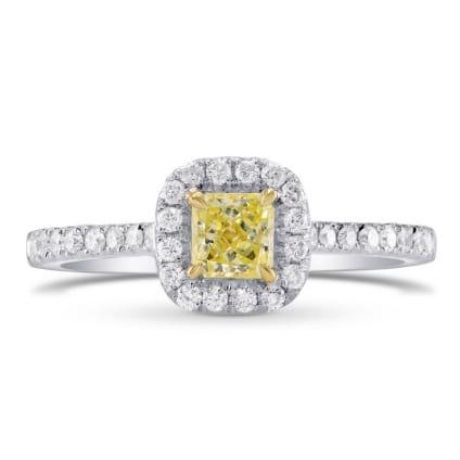 Fancy Intense Yellow Radiant Diamond Halo Ring 358314