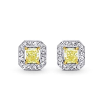 1.29ctTW Fancy Yellow Radiant Diamond Halo Earrings set in 18K gold 402498