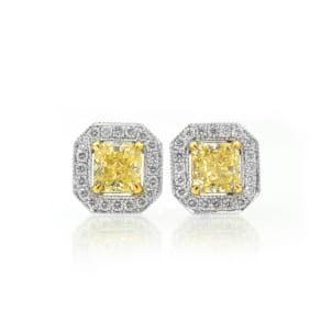 Light Yellow Radiant diamond halo earrings 422376