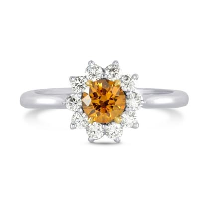 Fancy Deep Brownish Yellowish Orange Round Brilliant Diamond Ring 429930