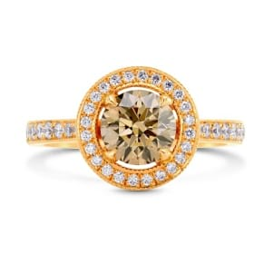 Fancy Yellowish Brown Diamond Halo Engagement Ring 430494
