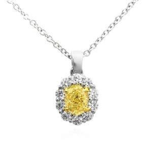 Light Yellow Oval Diamond Halo Pendant 438342