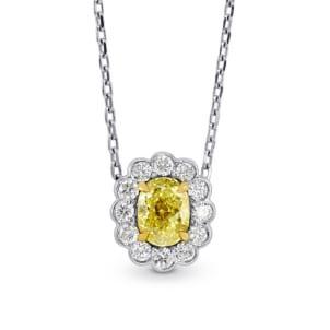 A Fancy Yellow diamond scallop halo pendant 438354