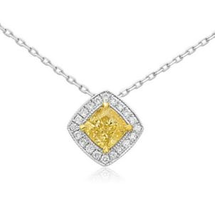 Fancy Yellow Diamond Halo Pendant 442140