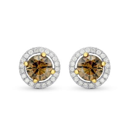 Fancy Brown Round Diamond Floating Halo Earrings 449562