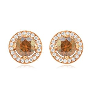 Fancy Brown Round Diamond Earrings 453864