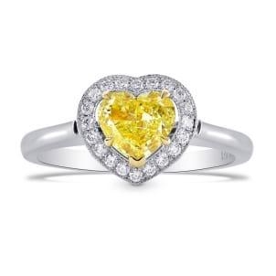 Fancy Intense Yellow Heart Shape Halo Ring 461466