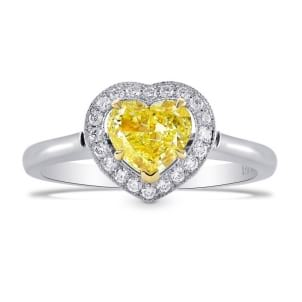 Fancy Intense Yellow Heart Shape Halo  ring set in Platinum and 18K Yellow Gold 461466