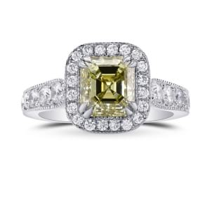 Fancy Grayish Greenish Yellow Emerald Shape Diamond Halo Ring 461472