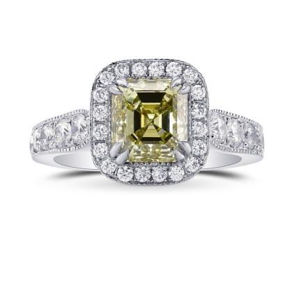 Fancy Grayish Greenish Yellow Emerald Shape Diamond Halo Ring 461472