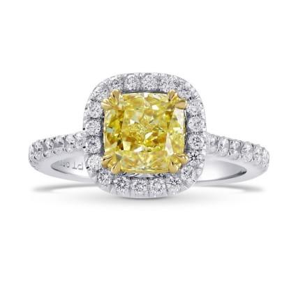 Fancy Yellow Radiant Diamond Halo Ring 461484