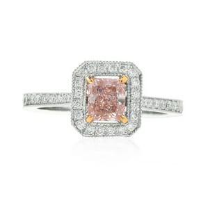 Fancy Light Pink Mill-grain Halo Ring 465948