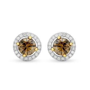 Fancy Brown Round Brilliant Diamond Halo Earrings 494154