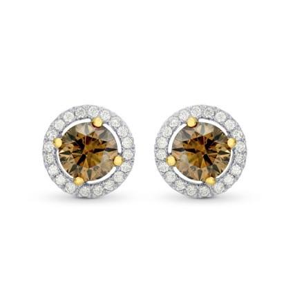 Fancy Brown Round Brilliant Diamond Halo Earrings 494154