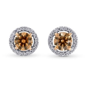 Fancy Brown Halo Stud Earrings set in 18K Rose and White Gold 494166