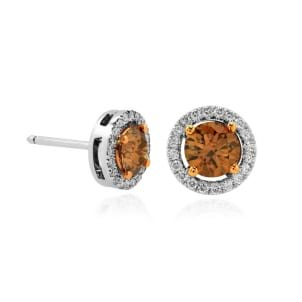 Fancy Brown Halo Stud Earrings set in 18K Rose and Yellow Gold 494166